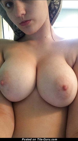 Sexy wet amateur naked brunette with medium natural boobs and big nipples selfie