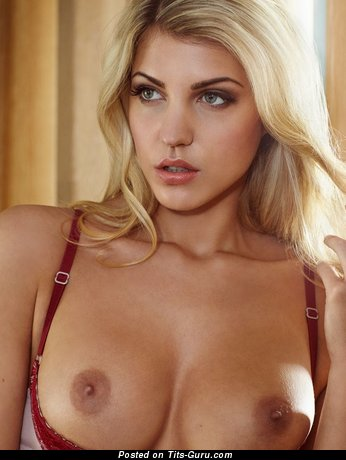 Image. Sarah Nowak - naked blonde with medium fake tits pic