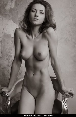 Appealing Topless Babe with Appealing Bald Real Knockers (Porn Picture)