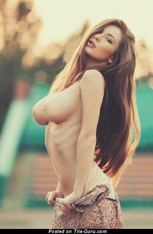 Beautiful Brunette with Beautiful Defenseless Med Boobs (Xxx Wallpaper)
