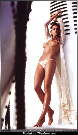 Image. Alena Seredova - sexy topless brunette with medium natural tittes image