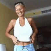 Sexy nude blonde with medium tittys gif