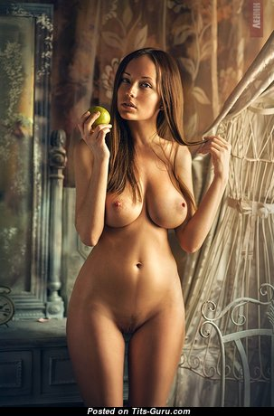 Stunning Brunette Girlfriend & Babe with Stunning Nude Natural Firm Busts (18+ Wallpaper)