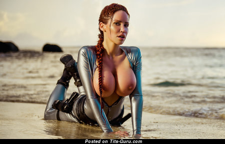 Alluring Woman with Alluring Bald Giant Boob on the Beach (Hd Sexual Image)