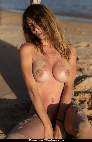 Cyrelle - Awesome Naked Babe with Tan Lines on the Beach (Hd 18+ Pic)