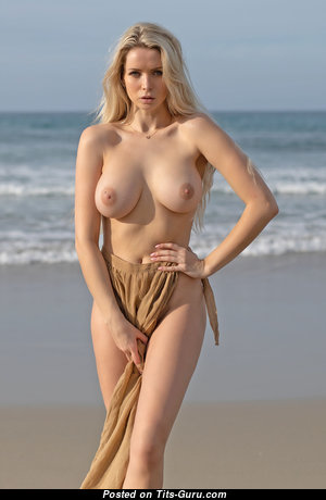 Katya (photodromm) - Lovely Blonde Babe with Lovely Bare Natural Soft Tit on the Beach (Hd 18+ Photo)