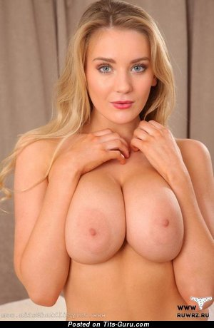 Image. Sexy naked blonde with big natural boob image