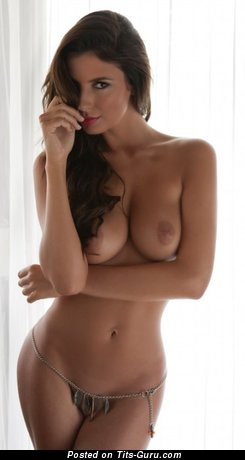 Image. Sexy topless amateur wonderful lady with medium natural boobies pic