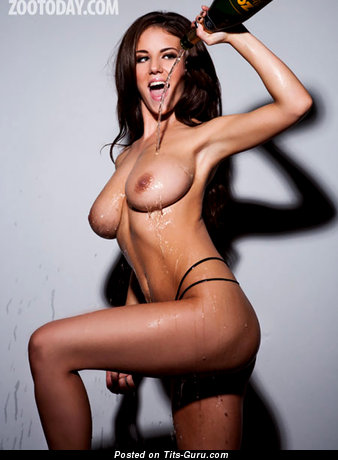 Image. Rachel Williams - wet topless brunette with medium natural tittys picture