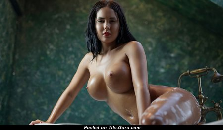 Marvelous Wet Brunette with Marvelous Open Normal Chest (Hd Porn Photoshoot)