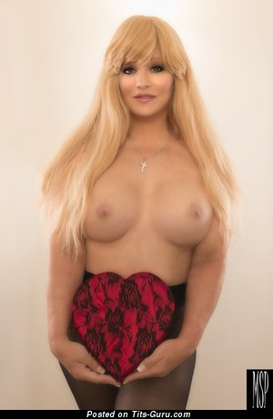 Abigail Rich - Good-Looking Glamour Playboy Blonde Actress & Cowgirl with Good-Looking Bald D Size Tittes, Enormous Nipples, Sexy Legs in Pantyhose (18+ Image)