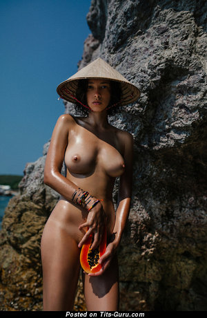 Cute Topless Asian Brunette Babe with Cute Bald Natural C Size Tit (Hd 18+ Picture)