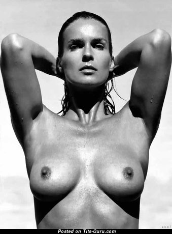 Katarina Witt - Amazing German Brunette Babe with Amazing Exposed Natural Soft Knockers (Vintage Sexual Pix)