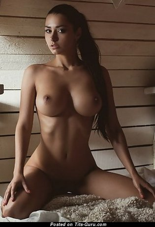 Appealing Brunette with Appealing Defenseless C Size Titty (Sexual Wallpaper)