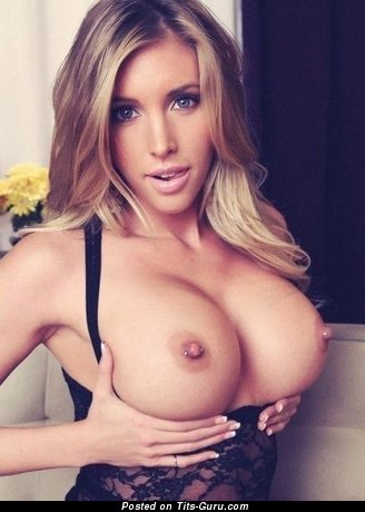 Superb Blonde with Superb Bare Round Fake Great Titty, Weird Nipples, Piercing (Porn Picture)