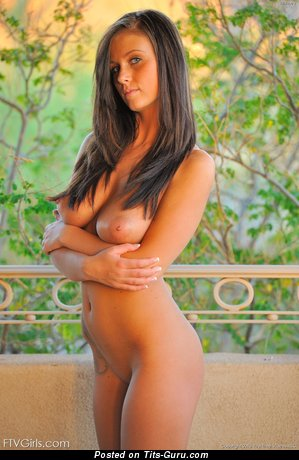 Image. Nude brunette with big natural tots photo