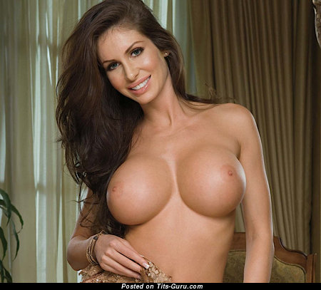 Image. Nude brunette with huge fake boobies picture