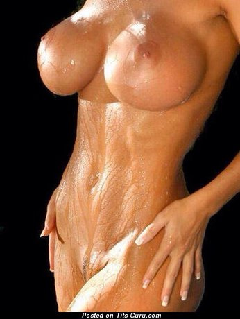Image. Sexy wet nude beautiful girl with medium breast photo