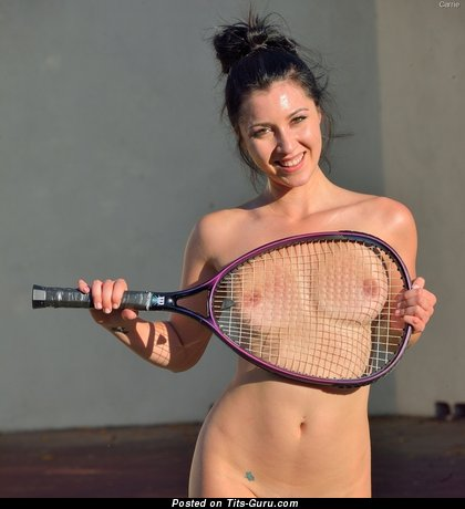Fine Doll with Fine Nude Petite Tittys is Playing Tennis (Sex Photo)