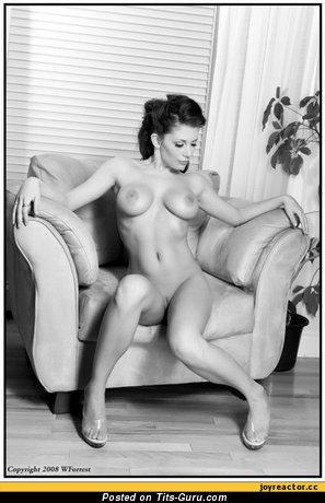 Изображение. Фото восхитительной обнажённой девушки с среднего размера силиконовыми дойками