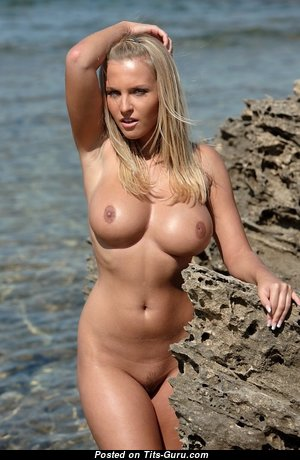 Janine - Gorgeous Glamour & Topless Blonde with Large Nipples, Tan Lines on the Beach (Sexual Pic)