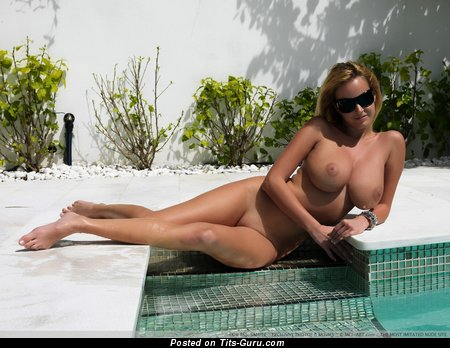 Raylene - Amazing Israeli, American Blonde with Amazing Nude Mega Boob in the Pool (Hd 18+ Picture)