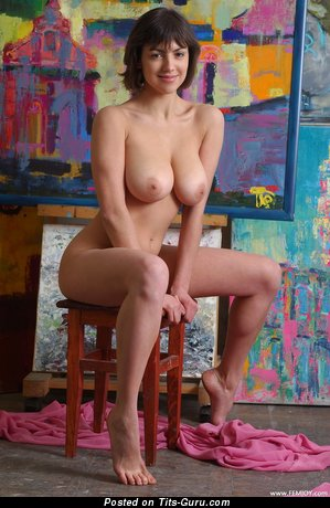 Image. Naked beautiful lady with big natural boob image