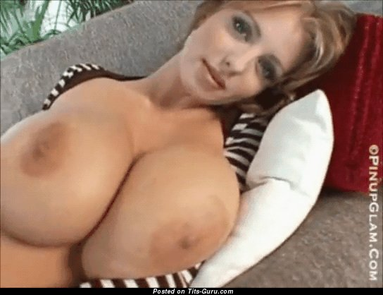 Image. Brandy Robbins - sexy topless brunette with huge boob and big nipples gif