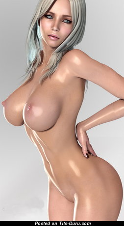 Image. 3d Nude Teen - naked blonde with medium boobies photo