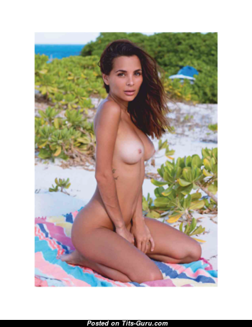 Carolina Impu - Fine Topless Playboy Lady with Fine Exposed Natural Average Busts & Tan Lines on the Beach (18+ Wallpaper)