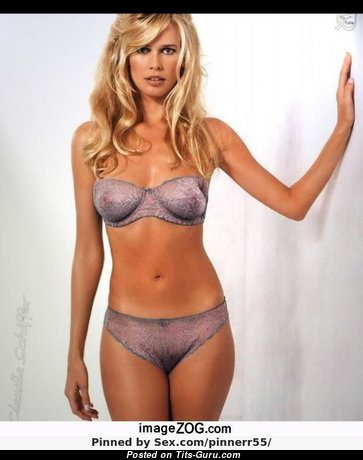Claudia Schiffer - The Best Non-Nude German Blonde Babe with Graceful Natural Chest, Erect Nipples, Sexy Legs in Panties & Lingerie (Porn Image)