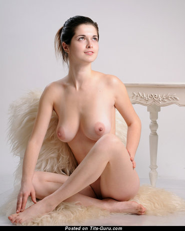 Image. Nude brunette with medium natural tots image