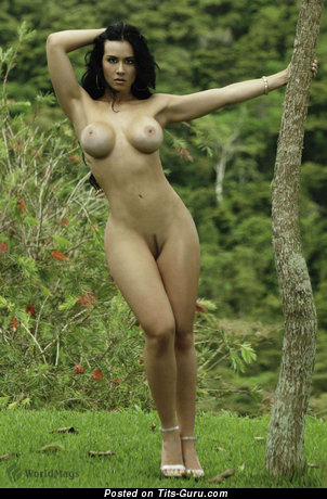 Diosa Canales - Stunning Venezuelan Brunette Babe with Stunning Exposed Round Fake C Size Knockers & Red Nipples (Hd Sexual Image)
