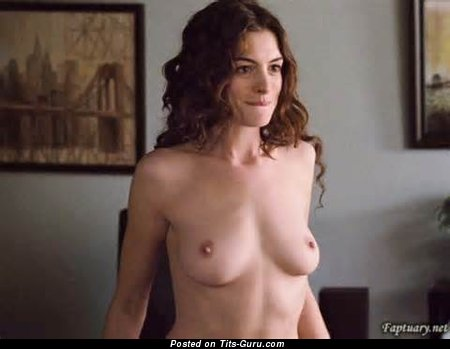 Anne Hathaway - Hot American Actress with Hot Open Real Firm Busts (Xxx Wallpaper)