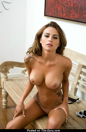 Image. Junia Cabral - sexy topless amazing lady with medium boob and big nipples photo
