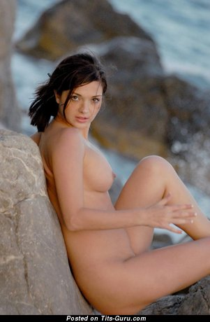Image. Adel A - nude brunette with medium natural boobies picture