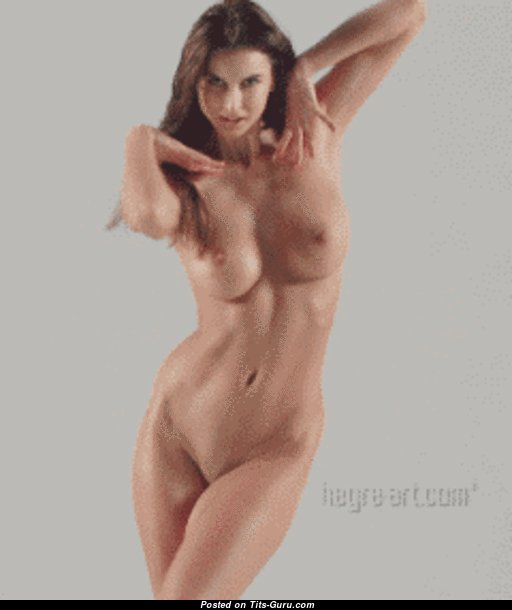 Pleasing Brunette Babe & Dancer Opening Awesome Bare Natural Tit, Large Nipples, Sexy Legs (Porn Gif)