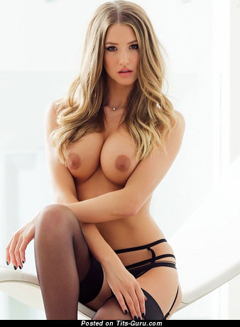 Danica Thrall - sexy naked blonde with medium tots and big nipples image