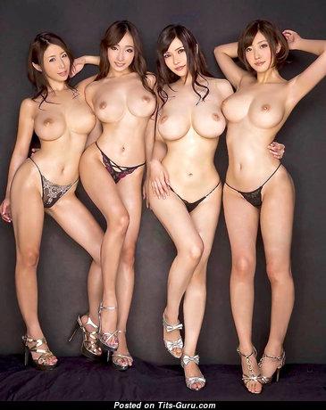 Ayumi Shinoda/kurea Hasumi/anri Okita/asahi Miz - Alluring Glamour & Topless Asian Brunette with Alluring Defenseless Med Boobys, Huge Nipples, Tan Lines in High Heels & Lingerie (Hd Sexual Image)
