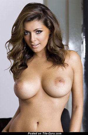 Sexy naked brunette with medium natural boob picture