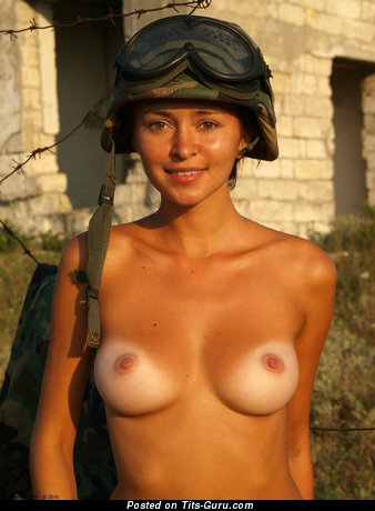 Topless hot lady with natural boob image