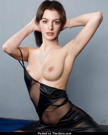 Anne Hathaway & Hot Topless American Red Hair & Brunette Actress with Hot Bald Natural Med Tittys & Pointy Nipples (Porn Photo)