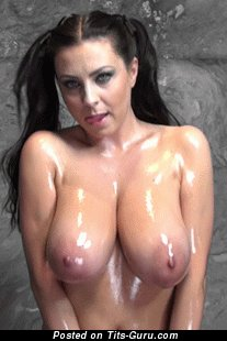 Sexy wet topless brunette with big natural tittys and big nipples gif