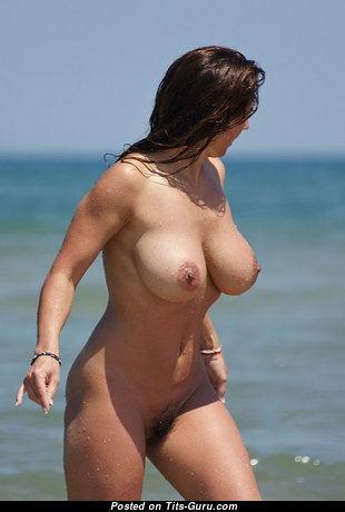 Beautiful Brunette with Beautiful Naked Dd Size Boobies on the Beach (on Public Porn Wallpaper)