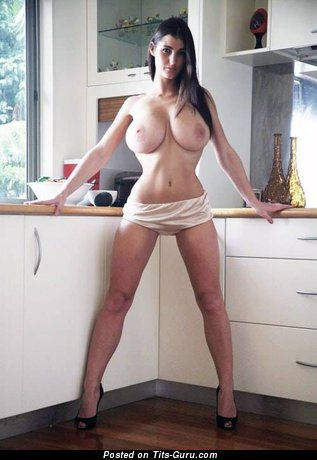 Perfect Brunette with Perfect Naked Dd Size Melons (Porn Foto)