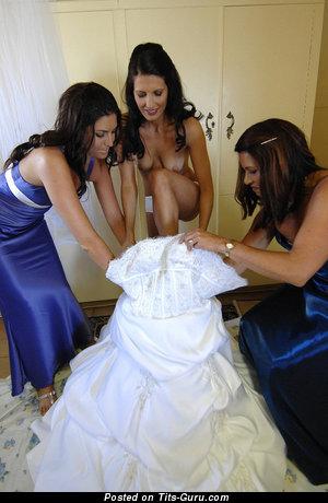 Adorable Unclothed Bride & Girlfriend (18+ Image)