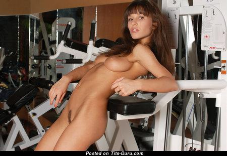 Albina Kalmyk - Pretty Russian Woman with Pretty Bare Natural Medium Tots is Doing Fitness (Hd Xxx Foto)