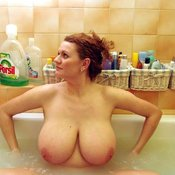 Amazing woman with huge natural breast photo