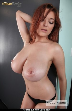 Tessa Fowler - The Nicest Topless American Red Hair Pornstar with The Nicest Bare Real K Size Melons & Large Nipples (Sexual Pic)
