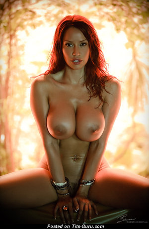 Image. Bianca Beauchamp - naked red hair with big fake boob and big nipples image